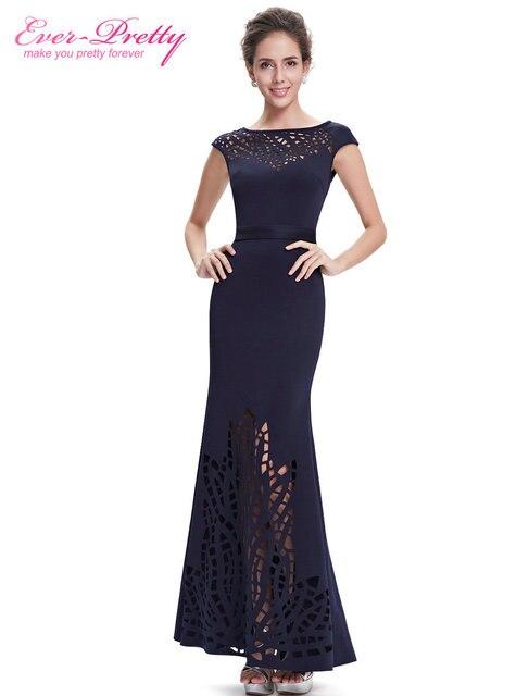 Evening Dress Ever-Pretty EP08545NB Women Navy Blue Round Neck Robe De Soiree 2018 Vestido De Festa Longo Evening Dresses