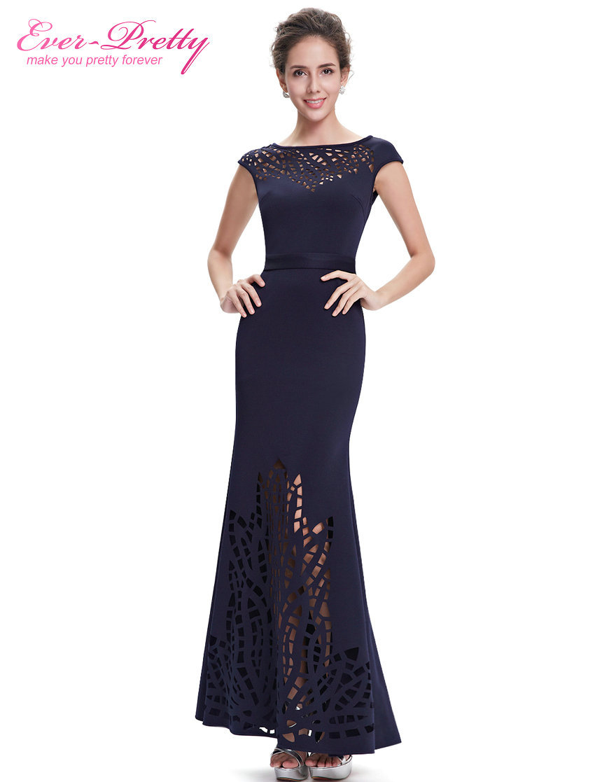 Evening Dress Ever-Pretty EP08545NB Women Navy Blue Round Neck Robe De Soiree 2020 Vestido De Festa Longo Evening Dresses