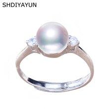 SHDIYAYUN Pearl Ring Natural Freshwater Pearl Jewelry 925 Sterling Silver Rings For Women Zircon Wedding Wholesale Diamond Ring цена