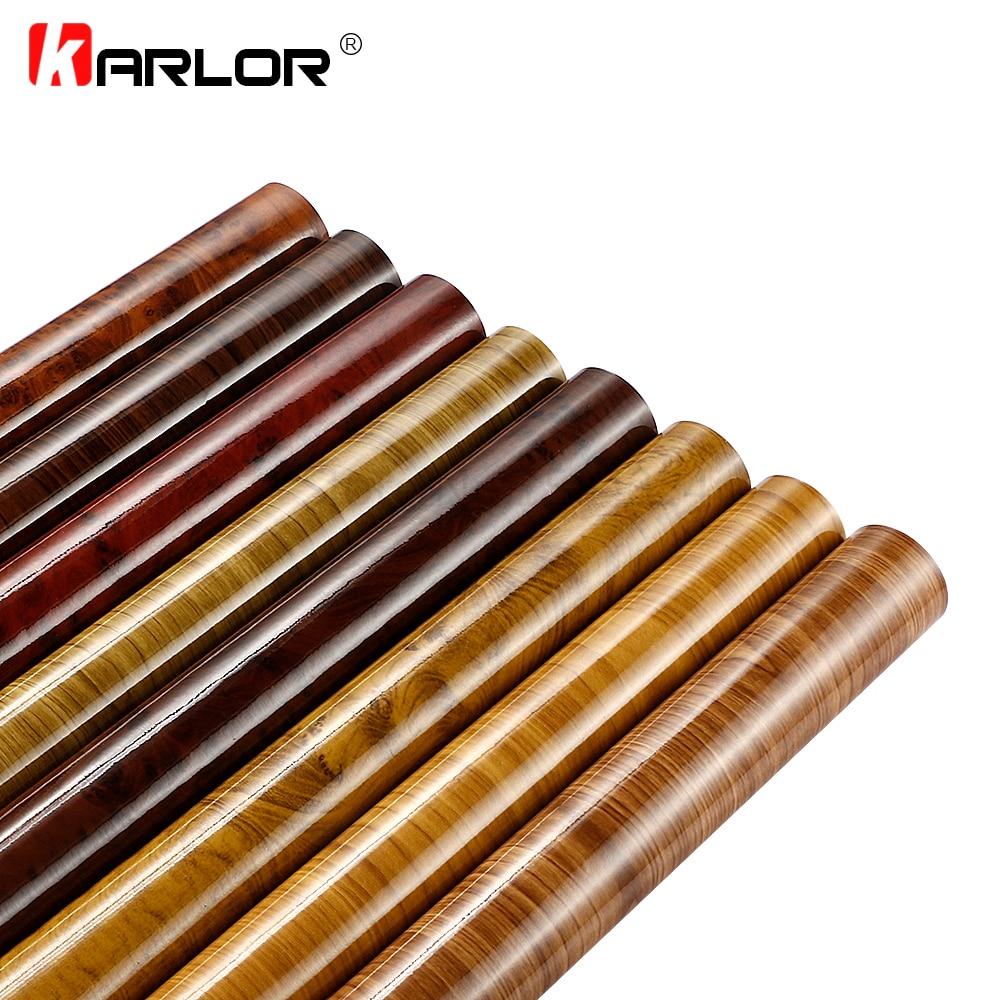 Car-Styling 50*200cm Wood Textured Grain Vinyl Wrap Decals Adhesive Glossy Wood Grain PVC Vinyl Film Car Interior Stickers