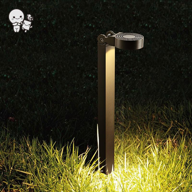 Outdoor Gray Aluminum Adjustable COB LED Lawn Lamp Fixture Waterproof Art Decorative Tall Ground Standing Light Designer 220V