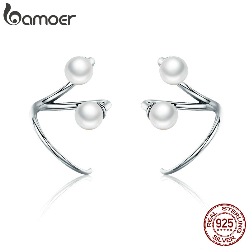 все цены на BAMOER 100% 925 Sterling Silver Earrings Elegant Imitation Pearl Stud Earrings for Women Silver Jewelry SCE306 онлайн
