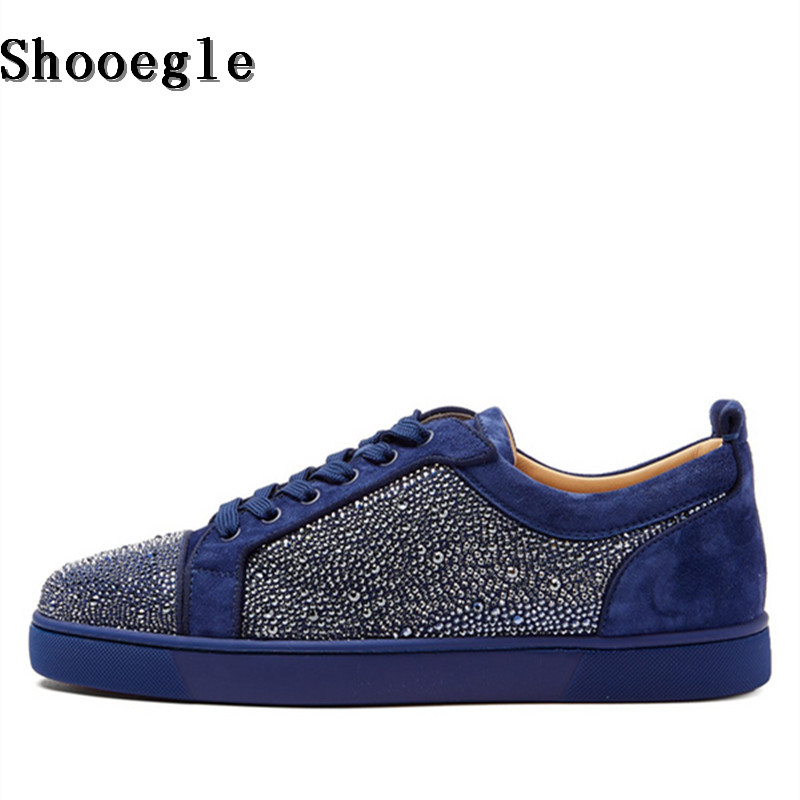 SHOOEGLE Newest Luxury Rhinestone Men Shoes Crystal Sneakers Casual Platform Low-Top Lace-up Shoes High Quality Zapatos Hombre