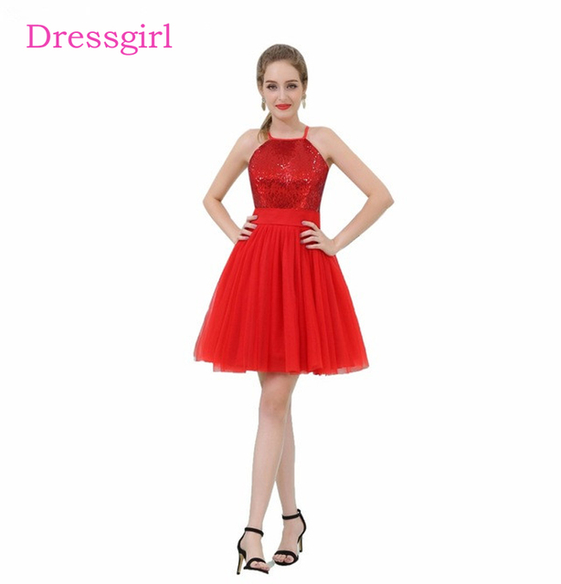 78cbf79c4e6 Red 2019 Homecoming Dresses A-line Halter Short Mini Sequins Sparkle  Elegant Cocktail Dresses