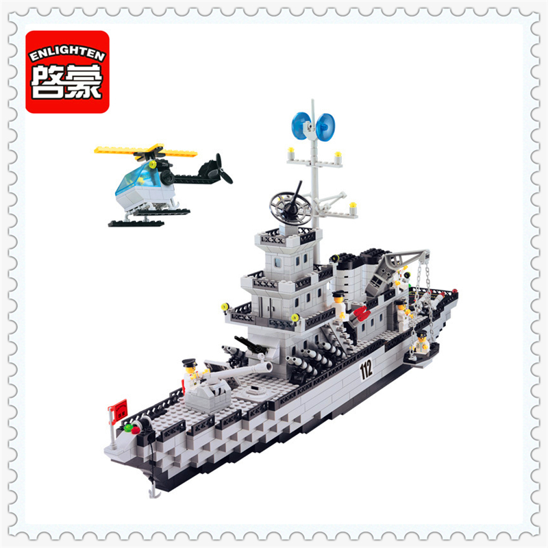 ENLIGHTEN 112 City Military Navy Patrol Warships Building Block 970Pcs Educational  Toys For Children Compatible Legoe decool 3114 city creator 3in1 vehicle transporter building block 264pcs diy educational toys for children compatible legoe