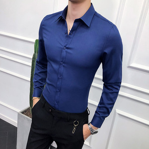Image 2 - Fashion 2019 Business Men Shirt Brand New Slim Fit Solid All Match Dress Shirts Men Long Sleeve Simple Prom Tuxedo Blouse Homme