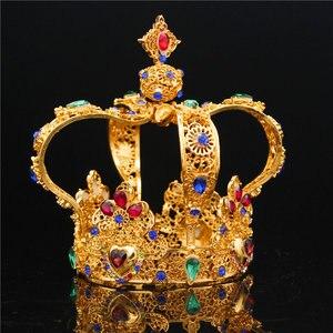 Image 2 - تاج الملك الملكي الباروكي للتزيين بالزفاف والتيجان للنساء تاج الملكة والتيجان مجوهرات الرأس