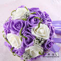 2017 Hot Sale Artificial Bride Hands Holding Red/Pink/Ivory/Purple Rose Flower Wedding Bridal/Bridesmaid Bouquet buque  de noiva