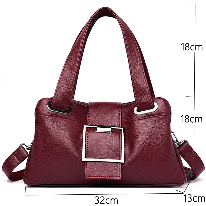Image 2 - Women Leather Handbags Vintage Soft Leather Female Crossbody Shoulder Bags Designer Brand Ladies High Capacity Top Handle BagsShoulder Bags   -