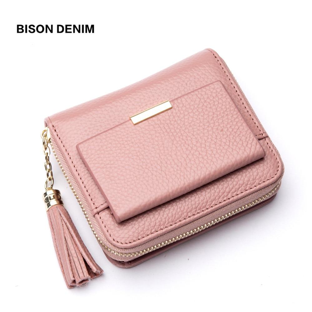BISON DENIM 100% Leather Women's Purse Zipper Coin Pocket Wallet Card Holder Female Money Bag Small carteira feminina N3276