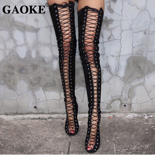 d9d5b85f23fc 2018 Woman Shoes Over the Knee Boots Peep Toe Lace up High Heels Gladiator  Rubber Boots Sexy Lady Party Shoes Faux Suede Slim