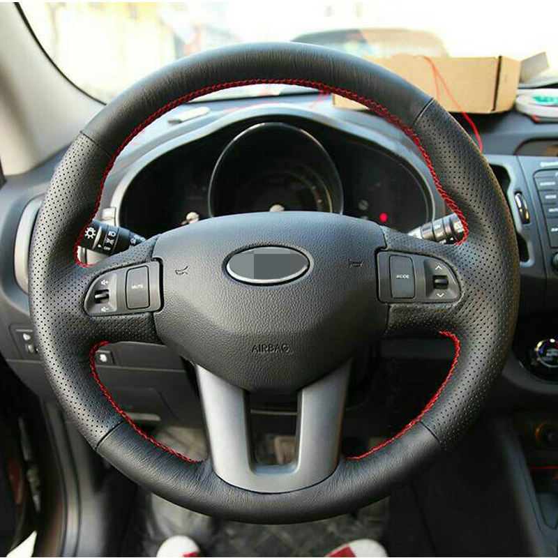 17 Black Artificial Leather Car cobertura de volante para Kia Sportage 3 2011-2014 Kia ​​Ceed 2010