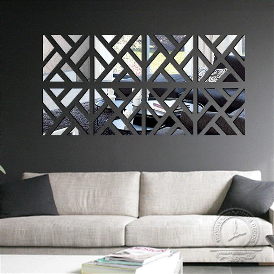 zero 32pcs removable 3d mirror acrylic wall sticker diy art vinyl decal home decor cheap