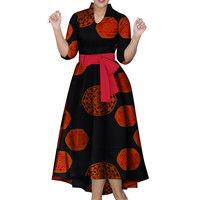 African Dresses for Women Half Sleeve African Print Dresses Ankle Print Fashion Style Long Dresses Vestidos Prom Dresses