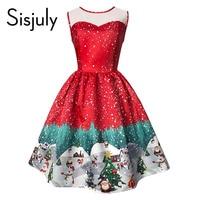 Sisjuly Vintage Christmas Dress Women Summer Dress Sleeveless Print Party Dress Evening Elegant Pullover Vintage Dress