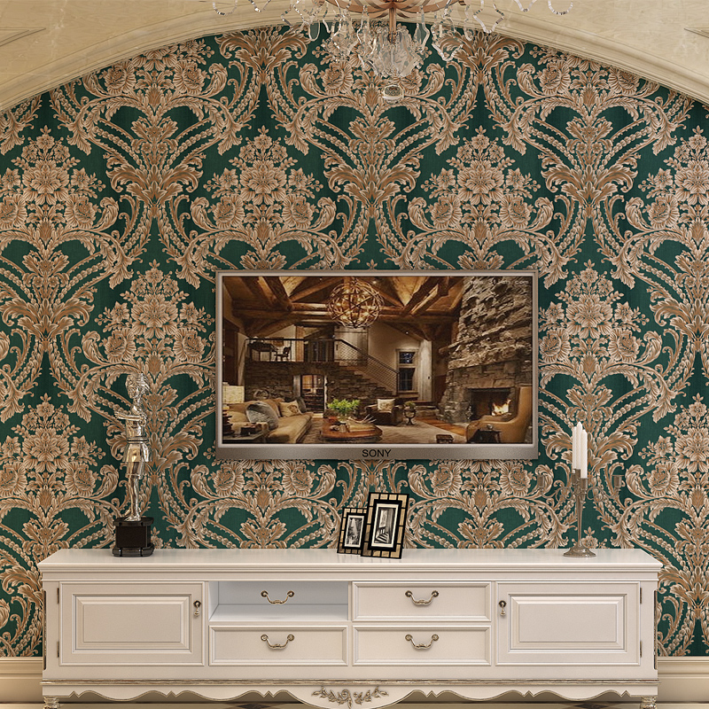 Villa Luxury Continental Wall paper Non-woven Retro American Style Living Room Wallpaper Bedroom 3D Large flowers Palace luxury retro personality large world map mural wallpaper 3d painting living room bedroom wallpapers backdrop stereoscopic wall paper