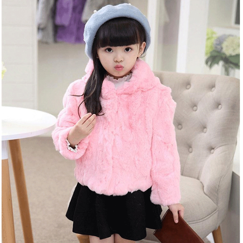 2017 New Children Rabbit Fur Coat Autumn Winter Girls Warm Fur Coat Kids Raccoon Fur Hooded Full Patchwork Short Clothing MHC10 new winter girls boys hooded cotton jacket kids thick warm coat rex rabbit hair super large raccoon fur collar jacket 17n1120