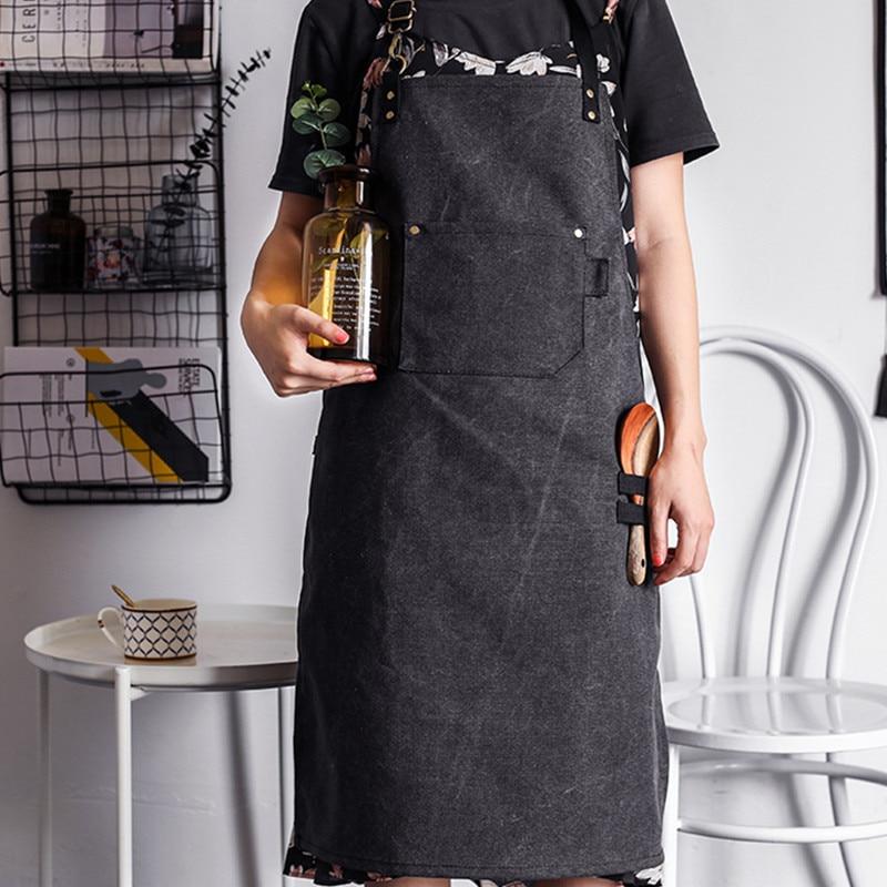 Avental de Lona lavada Barista Garçom Catering Chef Uniforme Padeiro Florista Carpinteiro Tatuagem Artista Pintor Jardineiro Desgaste do Trabalho|Aventais| |  - title=