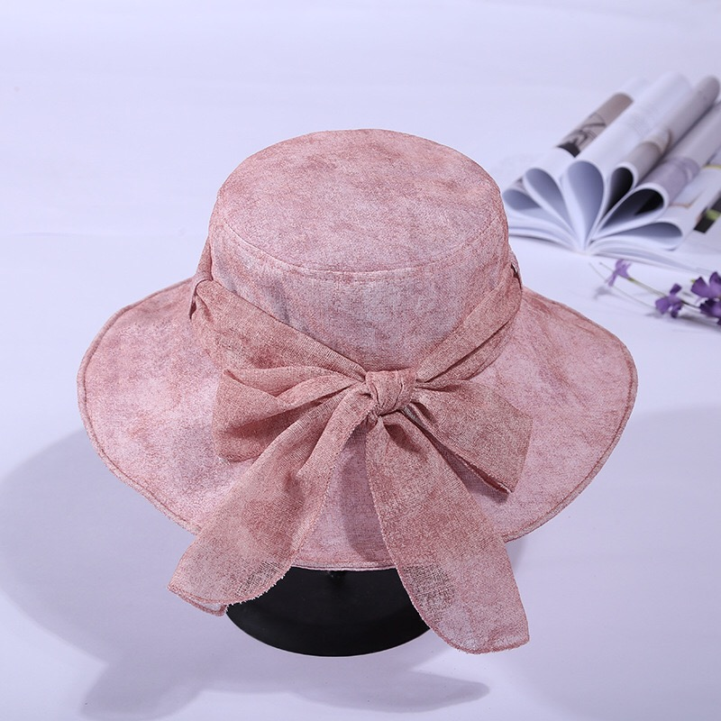 MingjiebihuoSummer new version of the new solid 6 color bow tie breathable sunscreen beach cycling and Foldable sun hat