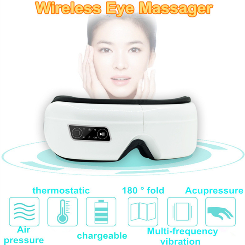 Electric Air Pressure Eye Massager With Mp3 Wireless Vibration Magnetic Heating Therapy Eye Massage Device Myopia Care Glasses цена 2017