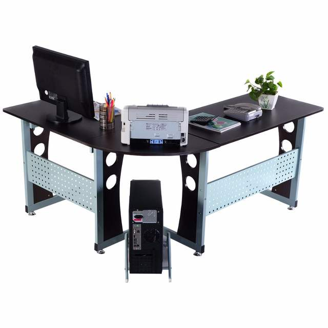 Online Shop Goplus Large Wood L Shape Corner Computer Desk Office Pc