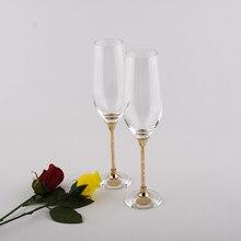 customed champagne flutes lead free wedding toasting wine glasses crystal goblet gifts drinking glasses set gold color stem