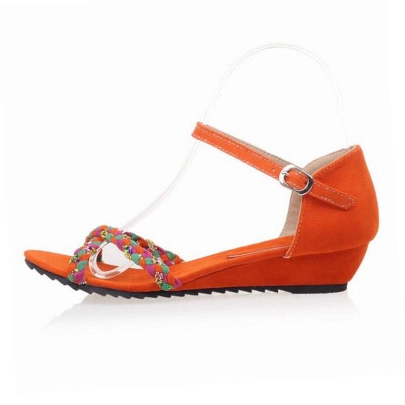 Fiesta 33 Coreana Hebilla Orange Zapatos Cerise Tamaño Planas 43 ZTPuOkiX