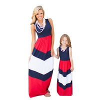 Low Price 2016 Family Matching Mother Daughter Dresses Clothes Striped Mom And Daughter Dress Kids Parent