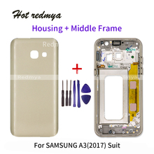 Rear A3 2017 Full Housing For Samsung Galaxy A3 2017 A320 A320F Battery Back Cover +Front Middle Frame Bezel+Tools