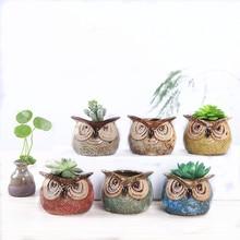 Mini Vase Ceramic Flowerpot Cute Cartoon Owl Shaped Succulent Plant Potted Plants Garden Decor Home Decoration Furnishing A
