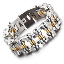Top Quality 22mm Huge Heavy Mens Motor Bike Chain Motorcycle Bracelet Bangle Silver Gold 316L Stainless Steel Jewelry