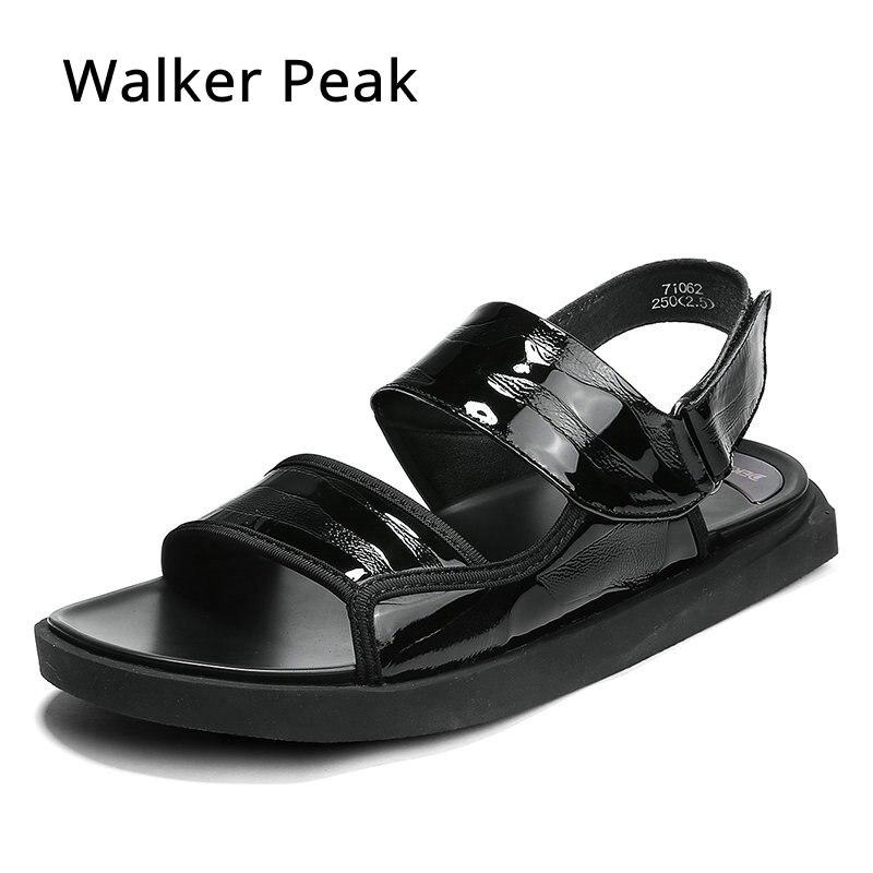 2018 Nuova Estate di Modo di Nuovo Stile Degli Uomini Del Cuoio Genuino Sandali Comodi Traspirante Casual Sandali Scarpe Per Gli Uomini di Marca-in Sandali da uomo da Scarpe su  Gruppo 1