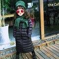 Niñas Capa X-largo Abajo relleno 90% de Pato Blanco Abajo Niños 60 ~ 80 cm de Largo chaquetas Chicas ropa de Abrigo Negro Abrigos De Invierno Niño Niño sudaderas con capucha