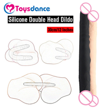 300mm Real Silicone Double Head Dildo Sex Products For Women Lesbian Flexible Fake Penis Double-end Big Cock Adult Sex Toy