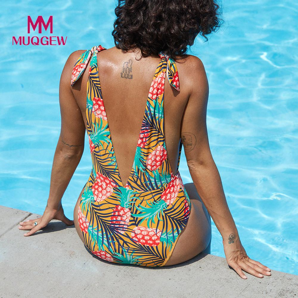 2018 Sexy Plunging Neck Flouncing High Cut Trikini Push Up Monokini Bathing Swimsuit For Women Thong Swimwear One Piece Swimsuit high neck one piece swimsuit women high cut thong swimwear sexy bandage trikini hollow out mesh bodysuit female zipper monokini