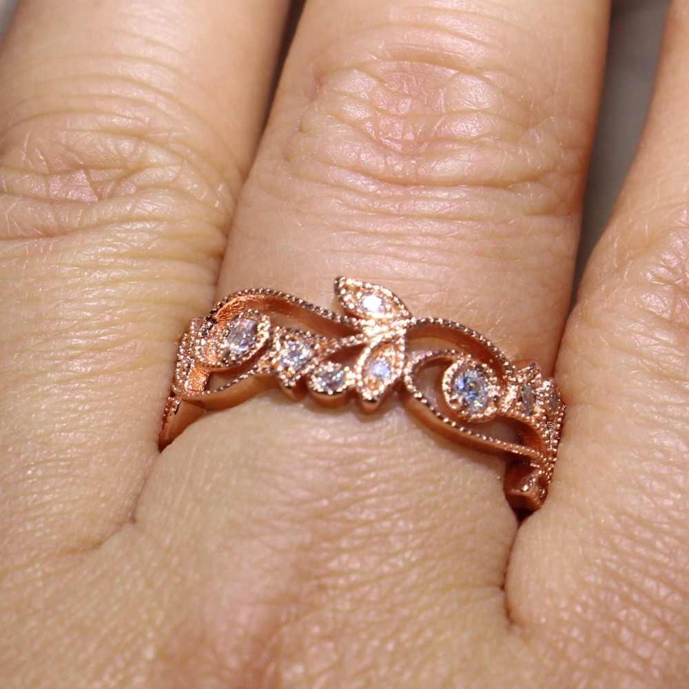 Hurtownie Brand New luksusowa biżuteria 925 Sterling Silver różowe złoto wypełnione AAA CZ cyrkonia Party kobiety ślub kwiat pierścionek w kształcie liści zestaw