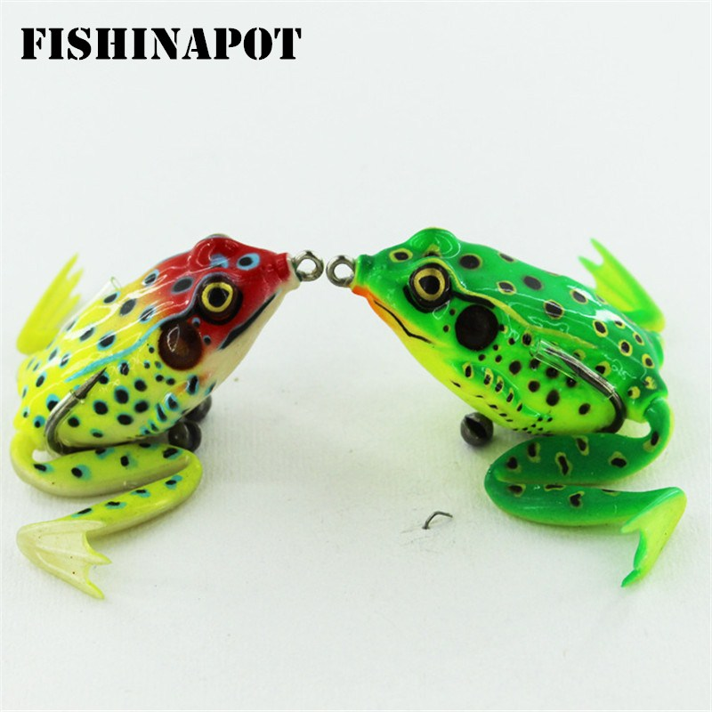 FISHINAPOT 1PCS Target Frog Fishing Lure Soft Bass Lifelike 3D Eyes Silicone Bait Topwater Simulation For Crap Fishing Tackle