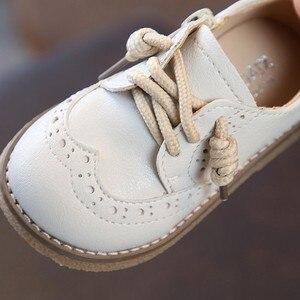 Image 2 - 2019 ربيع جديد جلد طبيعي حذاء للأطفال للأولاد الفتيات الدانتيل يصل مسطح حذاء كاجوال تنفس عدم الانزلاق طفل حذاء طفل صغير