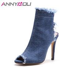 74942dff45c294 ANNYMOLI femmes sandales talons hauts gladiateur sandales Denim bout ouvert  femme chaussures de fête été Zip talons fins bottes .