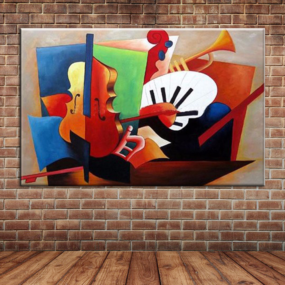 popular framed wall murals buy cheap framed wall murals lots from abstract musical instruments oil painting modern canvas art wall mural picture for bedroom living room