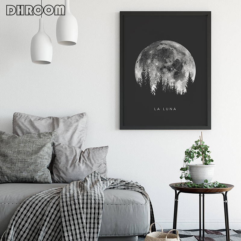 Minimalist Full Moon Poster Art Black White Moon Phases Prints Solar System Canvas Picture Painting Decoration for Living Room