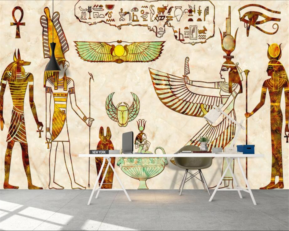 beibehang Home decoration large living room bedroom wallpaper nostalgic retro Egyptian idol background wall mural 3d wallpaper free shipping retro female star mural background wall bathroom studio home decoration artistic studio bedroom wallpaper