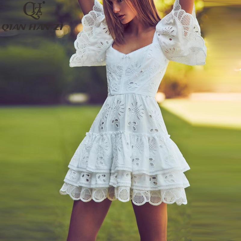 Qian Han Zi Designer Fashion Summer Dress Women s Flare Sleeve embroidered hollow elegant ruffled slim