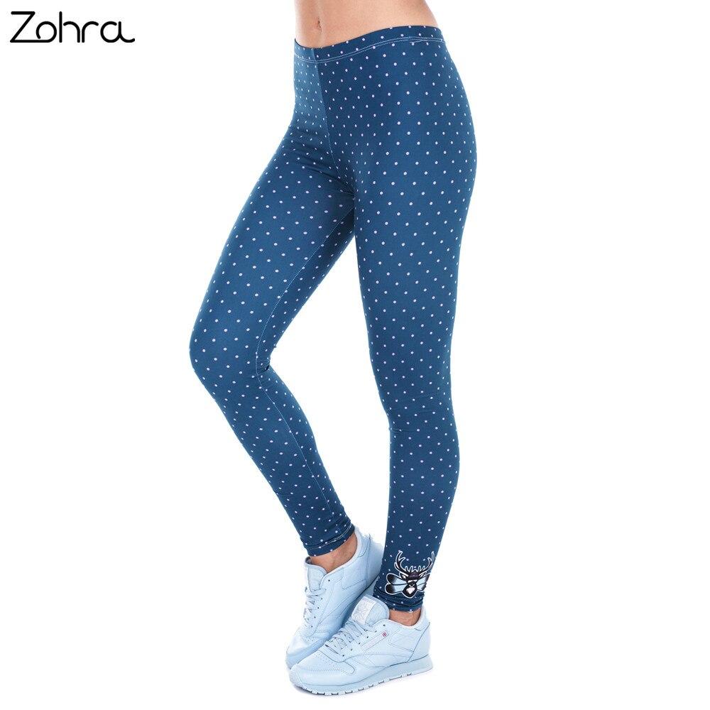 Zohra Stampato Donne Freeride Deer Dots Legging A Vita Alta Legins Elastico Silm Fit Pantaloni Donna Leggings