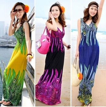 Bohocotol 2018 Sell one like this Deep V Collar Peacock Bohemia Summer Long Beach Dress Maxi Dress Hotsale New wholesale price