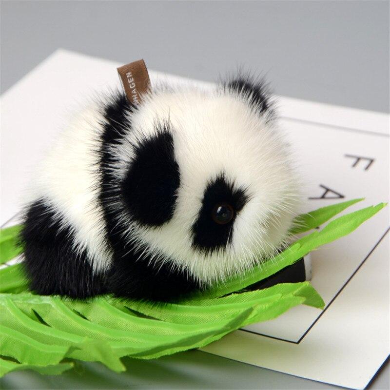 Véritable 14 cm En Cuir Souple Vison Fourrure Porte-clés Porte-clés Panda Bague Cadeau Sac Pendentif Voiture Accessoires Porte-clés jouet en peluche