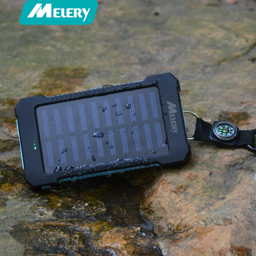 Solar Power Bank  Waterproof/Shockproof/Dustproof 10000mAh Charger Dual USB with Hook LED Light SOS  for  Mobile Phone