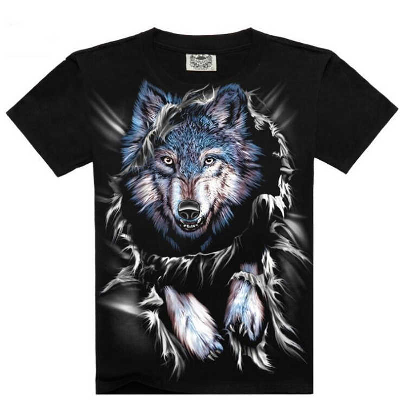 Europe America 2018 Summer High Quality O-Neck Tees Hip Hop T-shirt For Men 3D Wolf Printed Male Tee Shirt Loose big size Tops