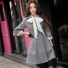 Unique 2016 Model Manteau Femme Autumn Winter Plus Dimension Slim Waist Elegant Informal Lengthy Strong Woolen Coat Girls Wholesale