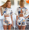 2016 Sale Polyester Tassel Crop Top And Skirt Set New European Aliexpress Short Sleeved Printed Two Piece Suit
